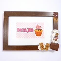 Ramka na zdjęcie brązowa ze słodyczami