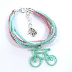 Bransoletka rzemykowa z rowerkiem