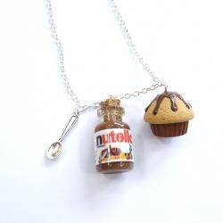 Naszyjnik z kremem czekoladowym i muffinką