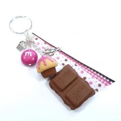 Brelok z czekoladą, muffinką i cukierkiem