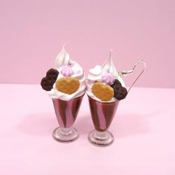 Kolczyki pucharki z deserem i kremem owocowym