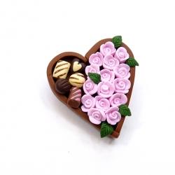 Broszka bombonierka z różami 1