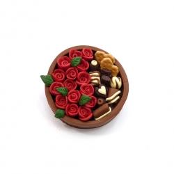 Broszka bombonierka z różami 2
