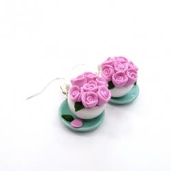 Kolczyki filiżanki z różami 3