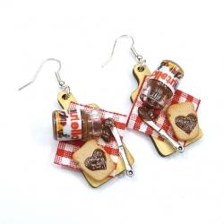 Kolczyki deseczki z tostami i kremem czekoladowym